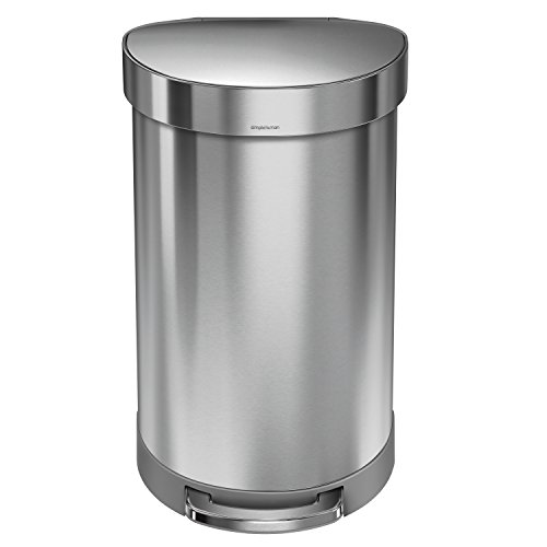 simplehuman Semi-Round Step Trash Can with Liner Rim, Stainless Steel, 45 Liter / 10.5 Gallon (Simplehuman Round Step Trash Can compare prices)