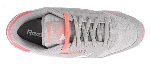 Reebok Women's CL Leather Seasonal Lace-Up Fashion Sneaker,Tin Grey/White/Punch Pink,9.5 M US