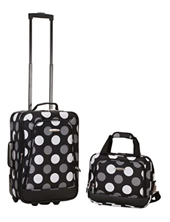Rockland Luggage 2 Piece Printed Luggage Set, New Black Dot, Medium