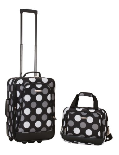 Rockland Luggage 2 Piece Printed Luggage Set, New Black Dot, Medium
