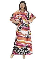 Saashiwear Women's Leopard Print Satin Kaftan Yellow