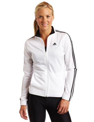 adidas Women's 3-Stripes Right Jacket, White/Black, X-Large