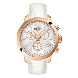 Tissot Quickster Chronograph White Mother of Pearl Dial White Leather Mens Watch T095.417.36.117.00