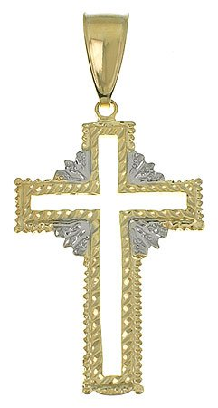 18k Gold Filled Diamond Cut Two-Tone X-Large 'Cross' Religious Pendant w/Chain