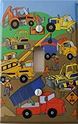 Construction Light Switch Plates / Single Toggle / Construction Theme with Bulldozers, Tractors, Cem