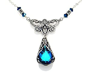 Victorian Style Swarovski Elements® Bermuda Blue Crystal Pendant Choker Necklace
