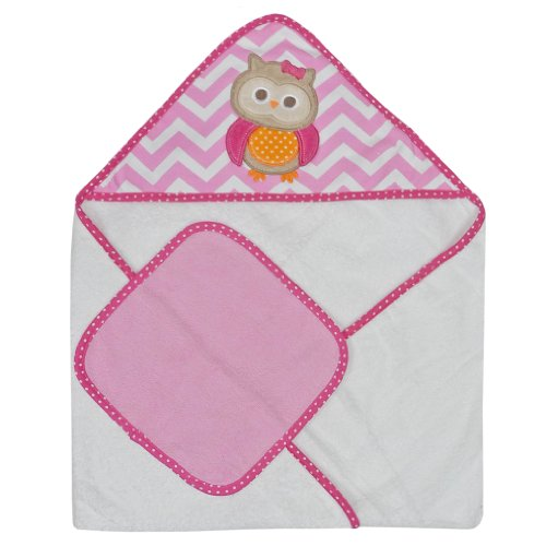 Neat Solutions Single Applique Print Woven Terry Hooded Towel and Washcloth Set, Owl