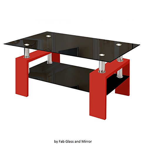 Fab Glass and Mirror Modern Glass Coffee Table with Shelf Contemporary Living Room, Red (Coffee Table Red And Black compare prices)