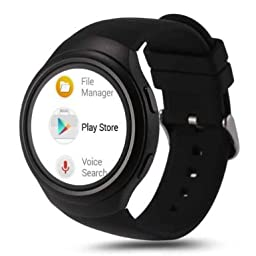 LEMFO Smart Watch Cell Phone All-in-One 3G WCDMA GSM Android 4.4 WiFi GPS Heart Rate Monitor (Black)