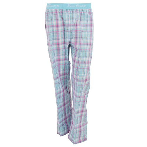 Womens/Ladies Woven Plaid Pattern Pajama Bottoms With Jacquard Waistband