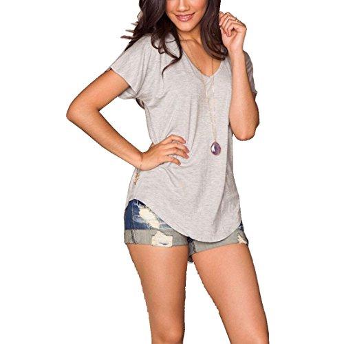 Bellezza Donna T-shirt Camicia Maniche Corte Asimmetrico Tinta Unita Maglietta Ragazza Tops Estate