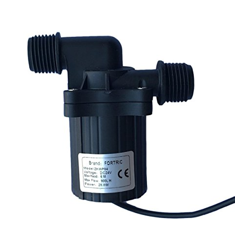 FORTRIC DC 24V 1.2A Water Pump for Water Circulation Aquarium Submersible 230GPH Max Lift 6M/19.7ft Fish Tank Garden Fountain Pump 6m Lift