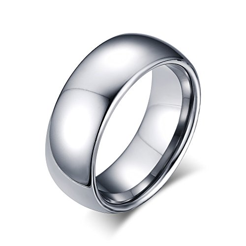 8mm Domed Tungsten Carbide Wedding Band Rings For Men Women Beveled Edge Comfort Fit Size 5-13 (All Rings compare prices)