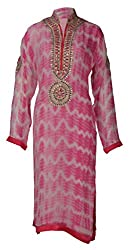 Sumona and Me Women's Georgette Kurta (Pink and White, 42)