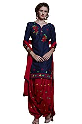 Kvsfab Blue & Red Pure Cotton embroiderd patiala un-stitched dress Material