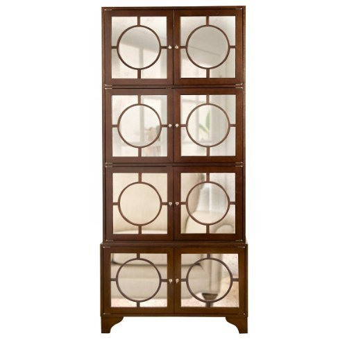 Vance Modern Hollywood Regency Espresso Antique Mirror China Cabinet