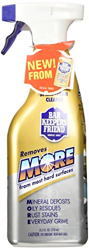 (2 Pack) Bar Keepers Friend NEW trigger Spray + Foam Cleaner for Stainless Steel / Tile / Porcelain / Ceramic / Aluminum / Copper / Brass / Chrome / Glass, 25.4 Oz. (Aluminum Pan Cleaner compare prices)