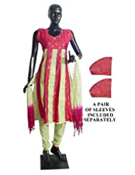 Red With Beige Printed Churidar, Kurta Set - Cotton