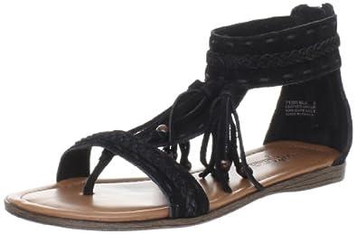 (快抢)迷你唐卡 Minnetonka 女士流苏真皮平底凉鞋Women's Belize 黑 $39.71