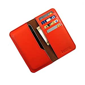 i-KitPit : Genuine Leather Wallet Flip Pouch Case For Nokia Lumia 1020 (ORANGE)