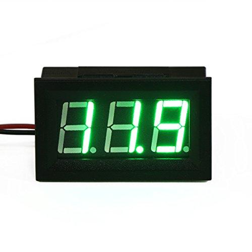 "Small Little DC Digital Voltmeter 2-Wire 0.56"" DC 3-30V Green Bright LED Car Motor Panel Mount Voltage Meter 5V 12V 24V 27V Solar Battery Volt Accurate Power Monitor Gaug by DROK"