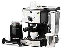 7 Pc All-In-One Espresso Machine Bundle Set - (INCLUDES: Electric Coffee Bean Grinder, Portafilter, Stainless Steel Milk Frothing Cup, Measuring Spoon w/ Tamper & 2 Ceramic Espresso Cups) from COTR, Inc.
