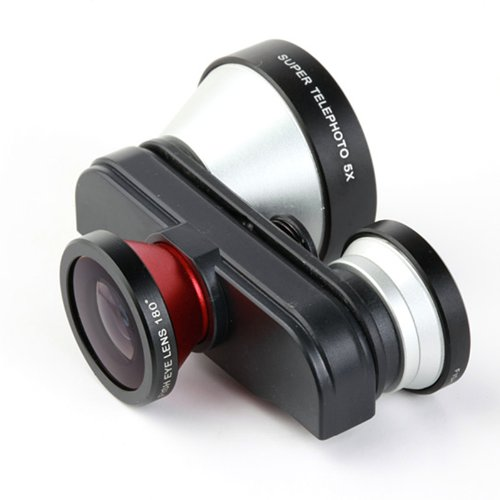 Docooler 4 In 1 Photo Lens Double Fish Eye Macro 5X Super Telephoto Lens For Iphone 5 5S (5X Super Telephoto Lens For Iphone 5 5S)