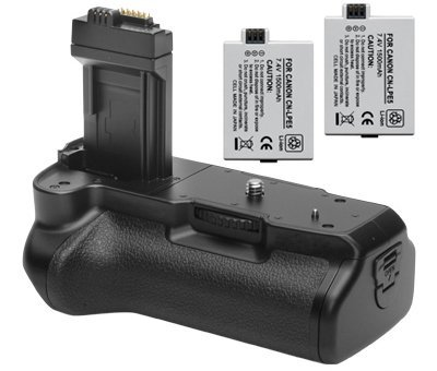 Opteka Battery Pack Grip / Vertical Shutter Release for Canon EOS 450D 500D 1000D T1i XSi XS Kiss F X2 X3 DSLR Digital Camera with 2 LP-E5 Batteries (Canon Xsi Battery Grip compare prices)