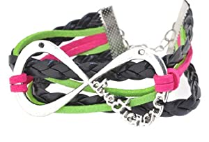 Black and Neon Pink Leather and Silver-Plated One Direction Infinity Bracelet, 1D Bracelet, 1D Wristband, 1D Wrist Band from Hinky Imports