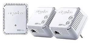 devolo dLAN 500 WiFi Prise Réseau CPL Wi-Fi, Augmentez Votre Portée Wi-Fi (500 Mbits/s,3 Adaptateur, 2 Ports Fast Ethernet, Amplificateur WiFi, Prise WiFi, WiFi Move) - Kit Réseau, Blanc