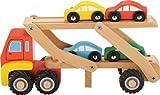 Auto-Transporter mit 4 Auto´s in bunten Farben aus Holz / 29 x 10 x 10 cm / für Kinder ab 12 Monate