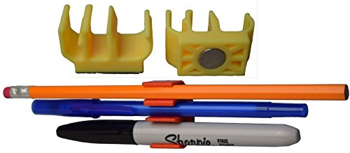 Magnetic Pencil Holder and Pen Clip (25 Pack, YELLOW) Holds 3 writing utensils! Great for pencil, pen, Sharpie & more! Rare Earth Magnet for desk, locker, fridge, craft room, under cabinet, etc.