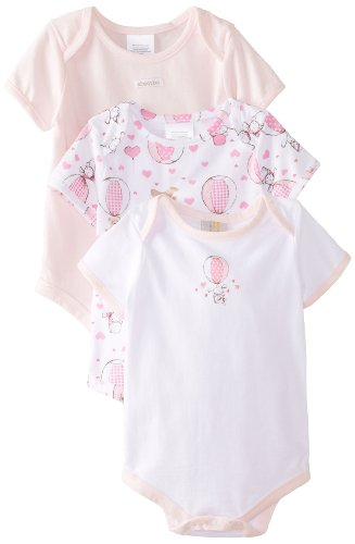 Absorba Baby-Girls Newborn Balloon Ride Layette 3 Pack Body Suit Set, White/Pink, 3-6 Months front-626808