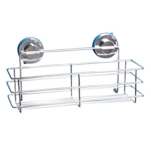Kaimao Super Strong Stainless Steel Suction Cup Shower Caddy Storage Basket Wash Supplies Wall Shelves for Kitchen & Bathroom