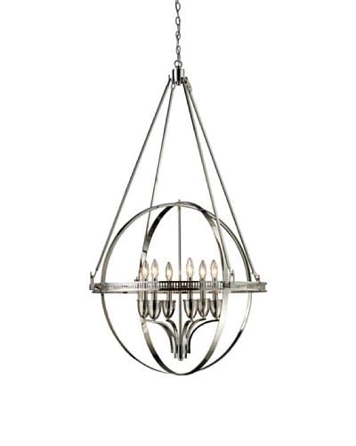 Artistic Lighting Hemispheres 6-Light Chandelier, Polished Nickel