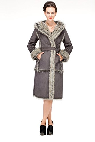 Faux Suede with Faux Fox Fur Trim and Lining Long Suede Coat Size M Gray