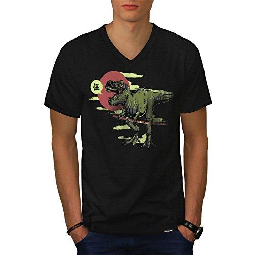 T-Rex Dinosauro Giappone Uomo Nuovo Nero T-Shirt L | Wellcoda
