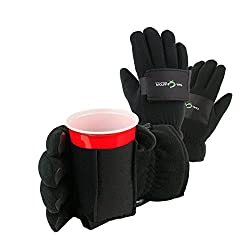 Waterproof Winter Gloves with Beverage Holder- Tail Gator (Med, Black)