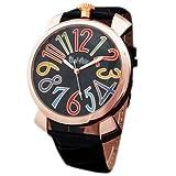 ・メンズ レディース腕時計 アナログ トップリューズ式ビッグフェイス腕時計 ピンクゴールド/ブラック