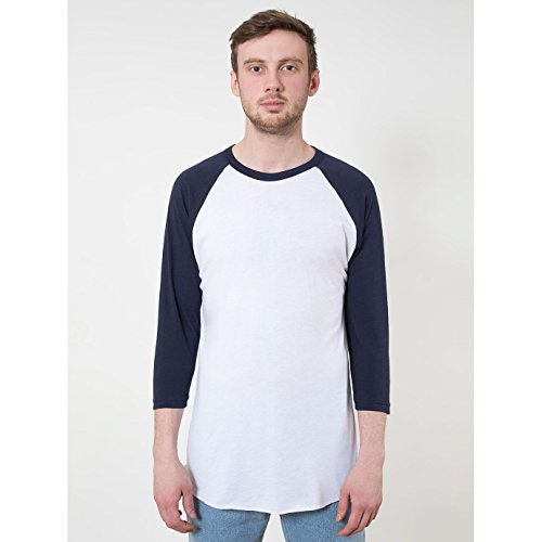 american-apparel-t-shirt-a-manches-3-4-homme-m-blanc-bleu-marine