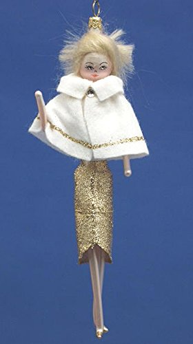 De Carlini Blonde in White with Gold Accents Italian Mouthblown Glass Christmas Ornament