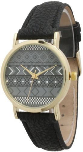 Ladies Aztec Print Leather Watch - Black/Grey