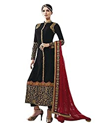 pakiza design new black embroidered georgette partywear festival salwar suit dress material