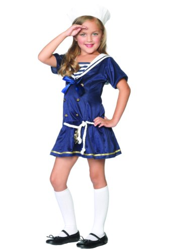 ハロウィン コスプレ (廃盤)キッズ/子供/チャイルド 2PC-水兵さんコスチューム(品番C48122) LEG-C48122-Blue-XS