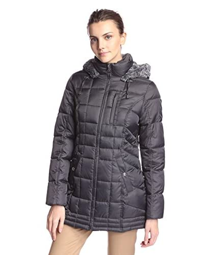 Nautica Women's Quilted Puffer with Faux Fur Trimmed Hood