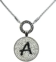 A in Black- Crystal Initial Ball Marker with Magnetic Ball Marker Necklace
