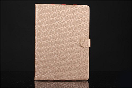 Apple Ipad Air 2 Case Borch Fashion Luxury Multi-Function Protective Crystal Series Leather Light-Weight Folding Flip Smart Case Cover For For Ipad Air 2 (Golden)