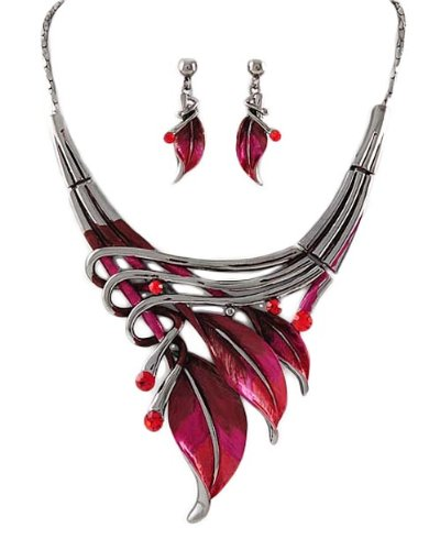 Silvertone Red Leaf Statement Necklace and Earrings Set Fashion Jewelry