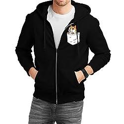 Fanideaz Men's Cotton FireFox Pocket Fox Zipper Sweatshirt with Hood_Black_S