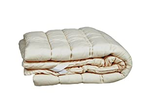Sleep & Beyond 75 by 86-Inch Washable Wool Mattress Topper, California King, Natural
